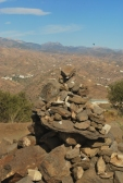 A stupa marking the way to the larger stupa at the top of the mountain at Karma Guen.