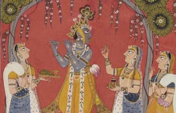 Krishna, wearing a yellow dhoti; playing the flute to his girlfriend Radha.