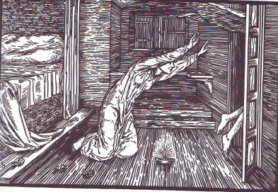 Cupid going away, illustration designed by Edward Burne-Jones and engraved by Elizabeth Burden