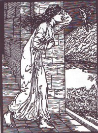 Pysche rushing out off the palace, illustration designed by Edward Burne-Jones and engraved by Lucy Faulkner.