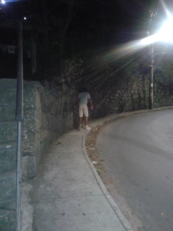 Walking up hill at night